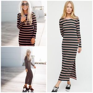 New Free People End Game Striped Midi Dress